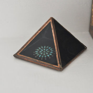 NEW Magus Pyramid Display Box, medium - black glass pyramid - jewelry box - hinged - silver or copper - eco friendly