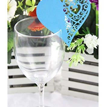 Jepc 50pcs Laser Cut Heart Shape Wedding Party Name Setting Place Cards for Wine Glass (Blue)