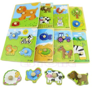 Colorful Animal Plane Puzzle Toy Kids Learning Educational Wooden Toy #HC6U# Drop shipping