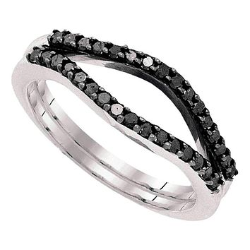 10kt White Gold Women's Round Black Color Enhanced Diamond Ring Guard Wrap Solitaire Enhancer 1/3 Cttw - FREE Shipping (US/CAN)