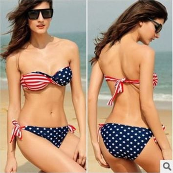 VON7TL Hot New Arrival Swimsuit Summer Beach Sexy Swimwear Bra Flag Bikini [10240447117]