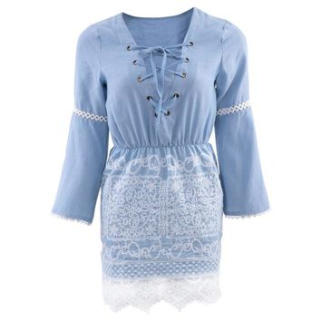 Chic V-Neck Flare Sleeve Lace Spliced Lace Up Denim Midi Dress for Women