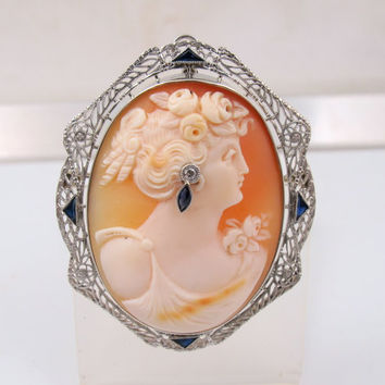 """Antique 14K White Gold Habille Cameo Necklace Pendant, Art Deco Filigree Diamond Sapphire Carved Cameo Brooch Jewelry, Museum Quality 2"""""""