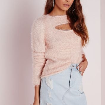 Missguided - Fluffy Peep Hole Front Jumper Pink