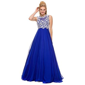 Lace Bodice Floor Length Prom Gown Royal Blue Empire Chiffon A Line
