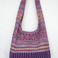 YAAMSTORE thai northern art graphic purple hobo bag sling shoulder crossbody hippie boho purse