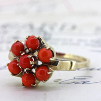 Antique Victorian Coral Ring   Rose Gold Wedding Ring   Alternative Engagement Ring   1900s Promise Ring   Gemstone Cocktail Ring  Size 6.25