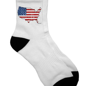 United States Cutout - American Flag Distressed Adult Short Socks  by TooLoud