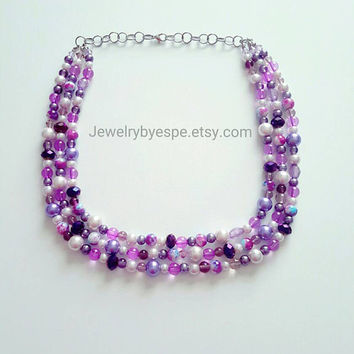 Purple Necklace/Crystal Necklace/Statement Necklace/Pearl Necklace/Lilac Lavender Layered Necklace Wedding Gifts