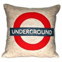 LONDON UNDERGROUND cushion oatmeal red and denim blue by gabbea