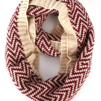 Knit Chevron Infinity Scarf - Black/White or Red/Beige