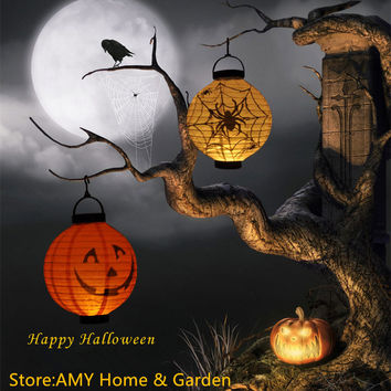 1 pcs Halloween Decoration LED Paper DIY  Pumpkin Light Hanging Lantern Lamp Halloween Props Outdoor Party Supplies Decor Scary