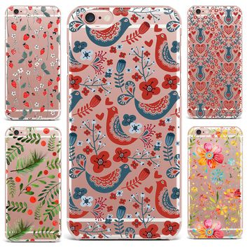 Case For Apple iPhone 7 8 Plus 7 6 S 8 6 Plus X 4 5s Mobile Phone Shell Flowers Patterned Series Cute Tropical Plants Hard PC