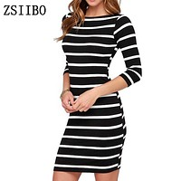 ZSIIBO LYQ61 2017 New Spring Summer Women Round Neck Fashion Black and White Striped Long Sleeve Straight Plus Size Casual Dress