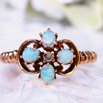 Antique Opal Ring Petite Rose Cut Diamond Engagement Ring 10K Yellow Gold Antique Wedding Ring Size 8
