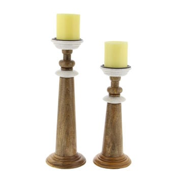 Annabelle Wood Marble Candle Holder In Brown Finish, Set Of 2