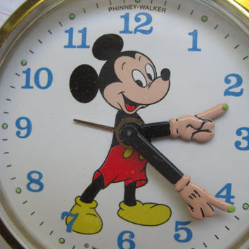 Vintage Disney Mickey Mouse Travel Alarm Clock Phinney-Walker Made in Germany WORKS 1960's Disney Clock Used No Case