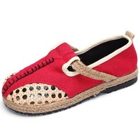 Pure Color Hollow Out Knitting Flax Slip On Retro Flat Shoes