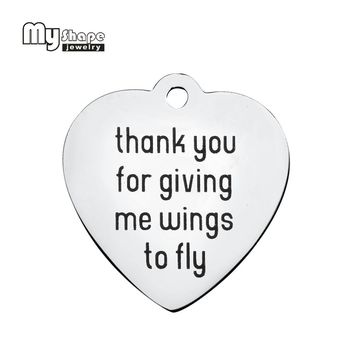 my shape  Stainless steel Letter Charms thank you for giving me wings to fly living memory floating charms lockets for woman