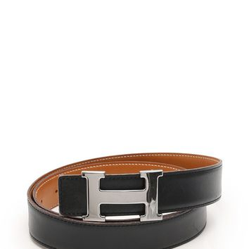 HERMES Constance H belt Reversible box calf black brown G engraved