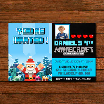 Minecraft Christmas Skin Invitation