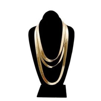 "Men & Lady 14K Gold Plated 9mm - 14mm Flat 22"" to 30"" Herringbone Necklace Chain"