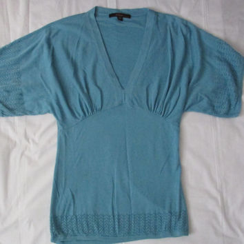 14-1127 Vintage Turquoise V Neck Sweater / 90s Does 40s Style Sweater / Short Sleeve Sweater / Fever / Teal Short Sleeve Sweater