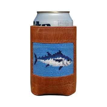 Tuna Needlepoint Can Cooler in Cornflower Blue by Smathers & Branson