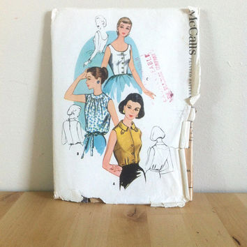 McCall's 4133 Women's Blouse in Three Sleeveless 50s Styles {1950s} Vintage Sewing Pattern