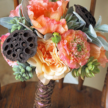 Succulent Peach and Sage Rustic Wedding Bouquet
