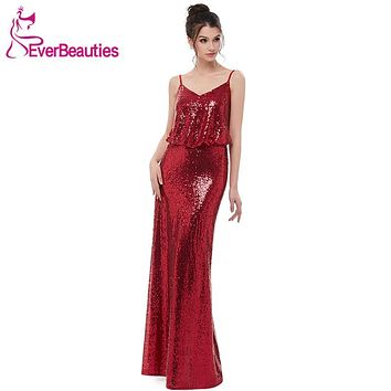 Wine Red Bridesmaid Dresses Long 2018 Sequins Dress Elegant Wedding Party Guest Dresses with Spaghetti Straps Vestido Madrinha