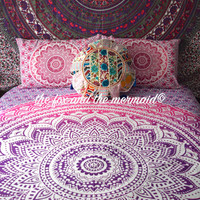 Mandala tapestry bed sheet & pillow cases, bohemian decor, roundie mandala sheet set, college student bedding, boho bed sheet