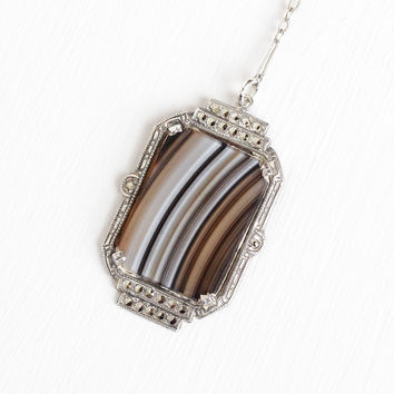 Antique Art Deco Sterling Silver Banded Agate Lavalier Marcasite Necklace - Vintage 1920s Flower Filigree Brown White Gem Pendant Jewelry
