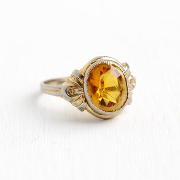 Antique Art Deco Simulated Citrine Ring - Vintage Size 7 3/4 Orange Yellow Stone Silver Tone 1930s Costume Jewelry