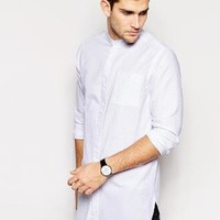 ASOS | ASOS Oxford Shirt In Super Longline With Grandad Collar And Neps at ASOS