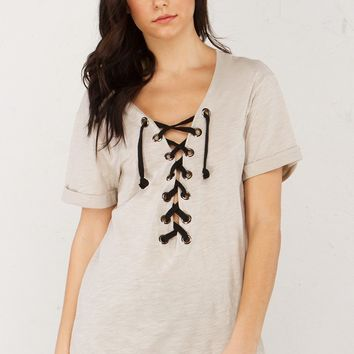 Lace Up Front Top in Taupe and Charcoal