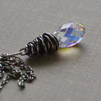 Crystal Briolette Pendant Oxidized Sterling Necklace, Wire Wrapped Crystal Swarovski AB Pendant, Sterling Silver