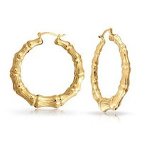 Bling Jewelry Bamboo Gold filled Hoop Earrings 1.75in