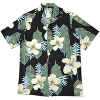 dream hibiscus black hawaiian aloha rayon shirt