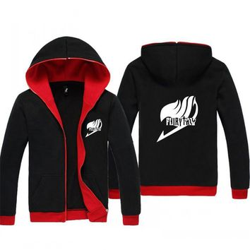 Fairy Tail Black Red Inside Anime Hoodie Sweatshirt Jacket