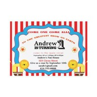 Circus 1st Birthday Party Invitation from Zazzle.com