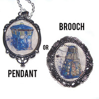 Dr who Tardis Dalek inspired Silver plated Pendant necklace or Brooch