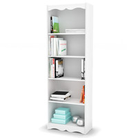 White 72 Inch High Bookcase With Soft Arches & 5 Shelves
