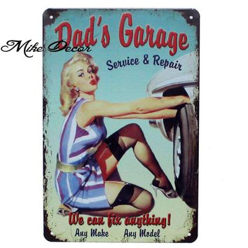 [ Mike86 ] DADS GARAGE TIRE LADY Wall Painting Metal Craft Vintage Gift Pub House Tin Sign Decoration 20X30 CM AA-901