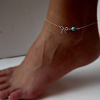 Sterling Silver Bow Anklet with Turquoise Delicate jewelry Sorority gift Girlfriend gift Wedding Gifts Shower Gifts