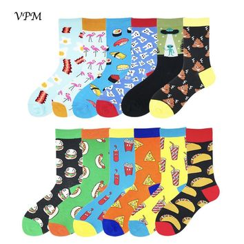 VPM Two Big Size Women&Men's Socks 85% Cotton Colorful Funny Harajuku Egg Flamingos Alien Sushi Tooth Poo Hamburger Sock
