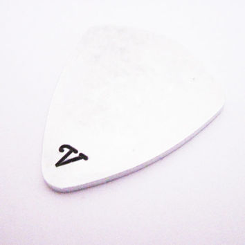For Him, Monogram Guitar Pick, Personalized Guitar Pick, Hand Stamped Guitar Pick, Metal Guitar Pick, Boyfriend Gift, Hand Stamped Monogram
