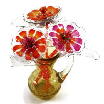 Vintage Crackle Glass Pitcher with three hand painted flowers, arrangement, beaded, orange, pink, golden yellow vase, gold