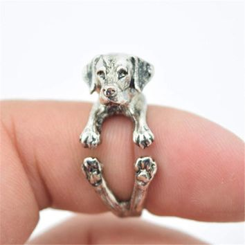 RONGQING Retro Vintage Labrador Retriever Rings Adjustable Cachorro Perro Dog Breed Animal Rings for Women Anel Bague