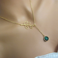 Spring Time Emerald Gold Branch Lariat Necklace- May Birthstone, botanical inspired, available in silver and other birthstone colors.